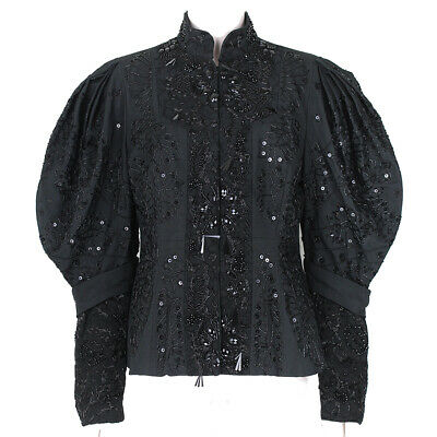 Dries Van Noten Black Honeycomb Exquisitely Glass Beaded Jacket FR40 (Dries Van Noten Glasses)