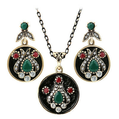 Brass Green Jewelry Set (Gold plated tulip style green agate mix rhinestone Indian necklace earrings)