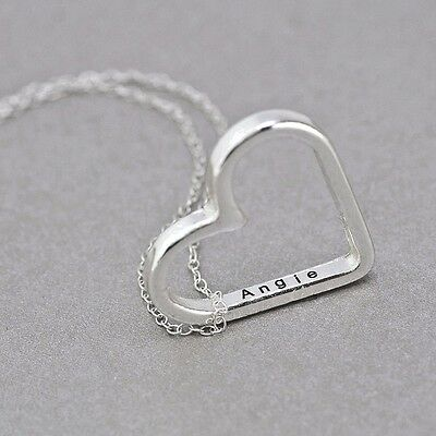 Sterling Silver Name Necklace - .925 Sterling Silver Heart Name Necklace with Name Engraving Inside