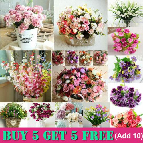 Home Decoration - Artificial Flowers Rose Tulip Wedding Party Home Grave Outdoor Bouquet Decor