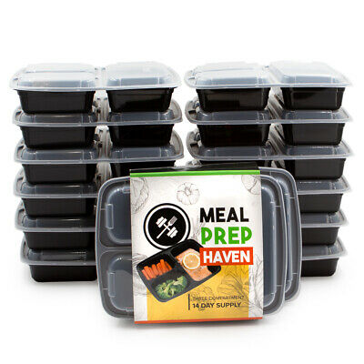 Meal Prep Haven 3 Compartment Food Containers with Airtight