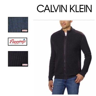 SALE! Calvin Klein Men's Basket Rib Sweater Full Zip Jacket SIZE & COLOR VARIETY - Full Sized Basket