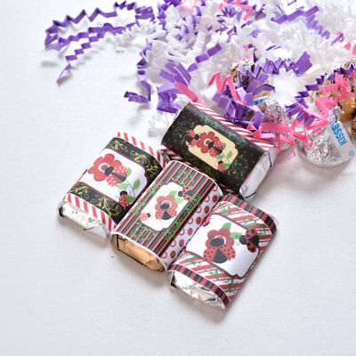54 Ladybug Candy Wrappers,  Ladybug Stickers for Hershey¨Miniatures (Ladybug Candy)