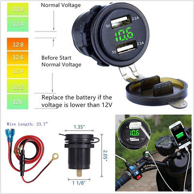 UNIVERSAL MOTORCYCLE DUAL USB CHARGER 42A GREEN LED VOLTMETER WIRE IN