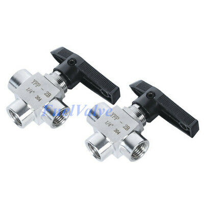 14 3 Way Ball Valve Stainless Steel Npt L Port Water Oil Gas High Pressure