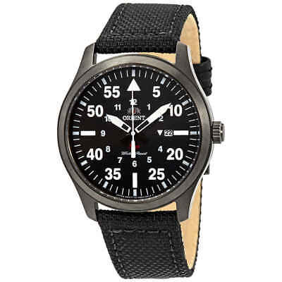 Orient Flight Black Dial Black Leather Men's Watch FUNG2003B