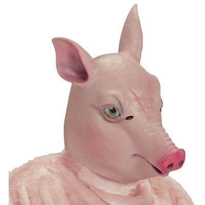 ROSA LATEX SCHWEINE MASKE # Schweinemaske Sau Bauernhof Kostüm Party Deko 96643 ()