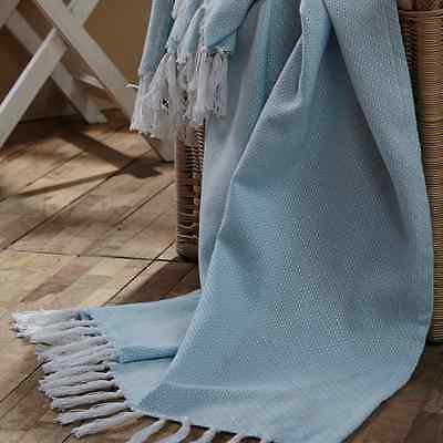 BABY WOVEN THROW BLANKET SKY BLUE 36X48 WHITE TASSELS COTTON NURSERY ACCESSORIES 36x48 Woven Baby Throw Blanket