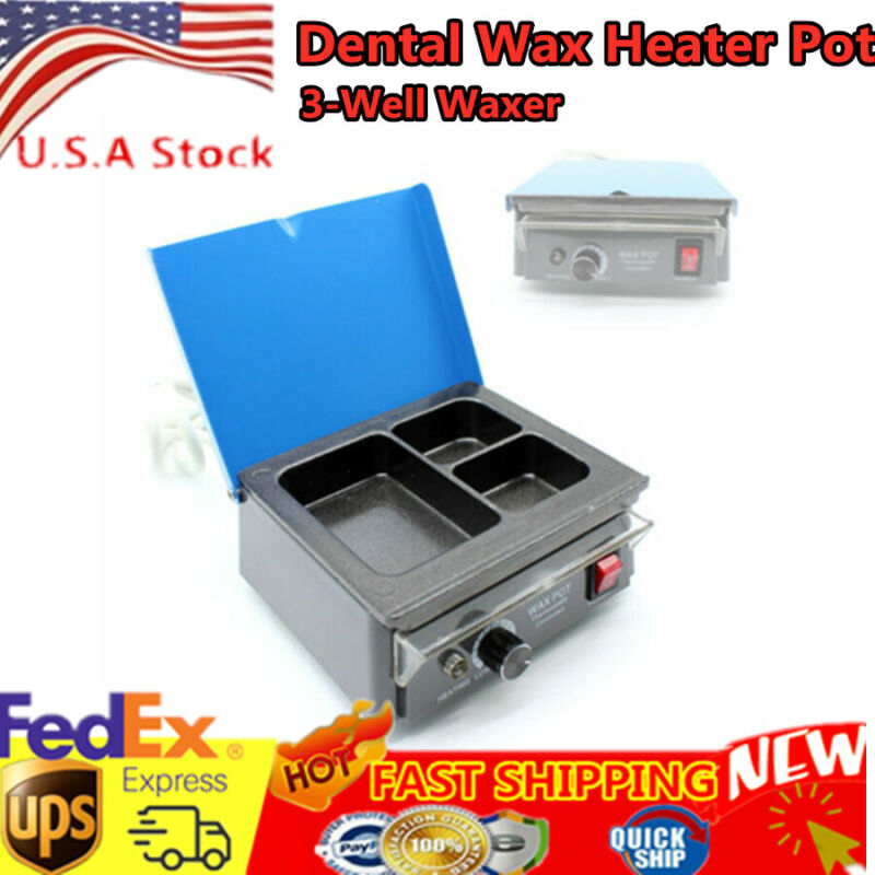 Dental Analog Paraffin Heater Melter 3 Pot Paraffin Melting Dipping Machine USA
