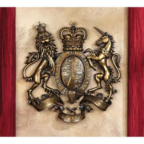 United Kingdom Heraldry Royal Coat of Arms Lion & Unicorn Shield Wall Sculpture