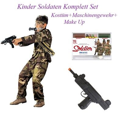 INDER Karneval Party Armee Uniform Jungen Gewehr Make Up So13 (Soldat Kostüm Kinder)