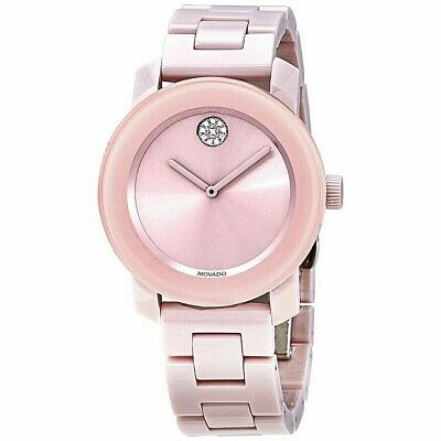 Movado BOLD 3600536 Women's Pink Ceramic Crystal Swiss 36mm Watch Box & Papers