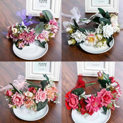 Womens Boho Flower Headbands Crown Hair Wreath Flower Garland Hair Accessories