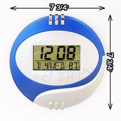 8 LCD Circular Digital Desktop +Wall Clock Thermometer Time Alarm Date Calendar