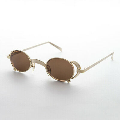 Oval Vintage Steampunk Sunglass in Goldl with Side Shields -Byron
