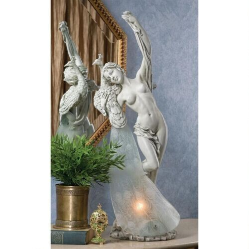 Art Nouveau Elegant Arched Maiden Lady Peacock Lighted Table Sculpture NEW