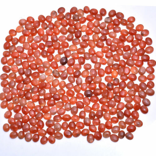 322 Pcs Natural Finest Sunstone Wholesale Oval Untreated Cabochon Gems ~11mmx9mm