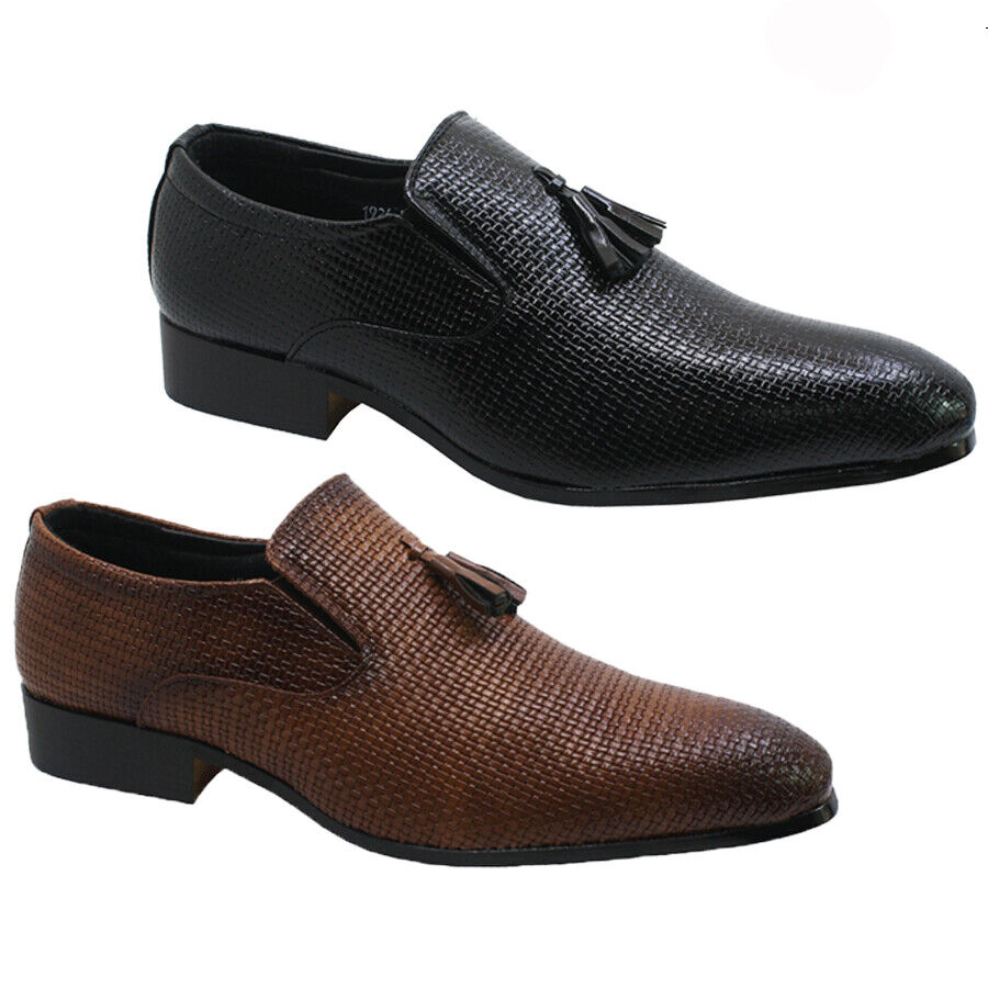 MENS REAL LEATHER TASSEL DESIGNER DRIVING LOAFERS CASUAL SMART DRESS SHOES SIZE