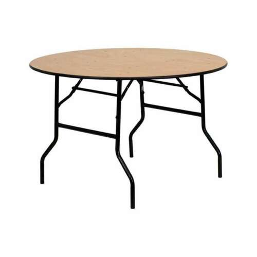 Round Folding Banquet Table with Clear Coated Finished Top