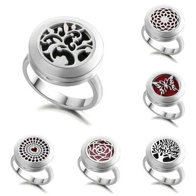 316L Steel Locket Aromatherapy Ring Essential Oil Diffuser Chic Biker Band -