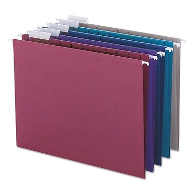Hanging File Folders Assorted Dark Colors Adjustable Tab Smead Letter 25 Pack