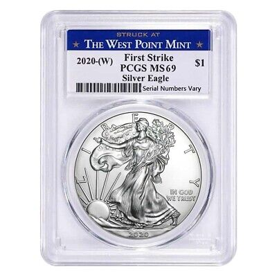 2020 (W) 1 oz Silver American Eagle $1 Coin PCGS MS 69 First Strike (West Point)