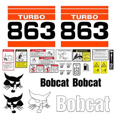 Bobcat 863 Turbo Skid Steer Set Vinyl Decal Sticker - 25 Pc - Free Shipping