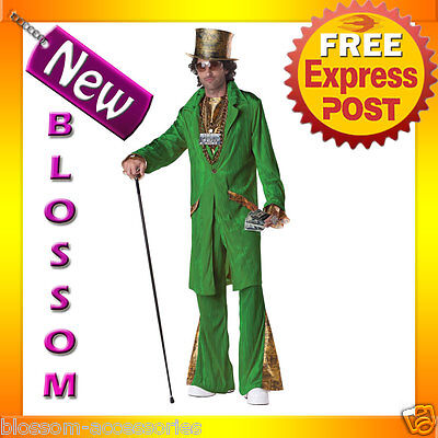 C647 Mens Hustla Deluxe Green Pimp Money Dealer Halloween Fancy Costume Outfit (Pimp Halloween Outfits)