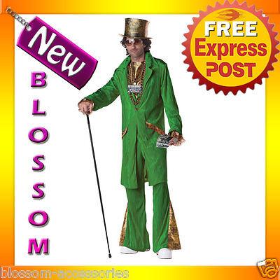 C647 Mens Hustla Deluxe Green Pimp Money Dealer Halloween Fancy Costume Outfit (Pimp Outfits Halloween)