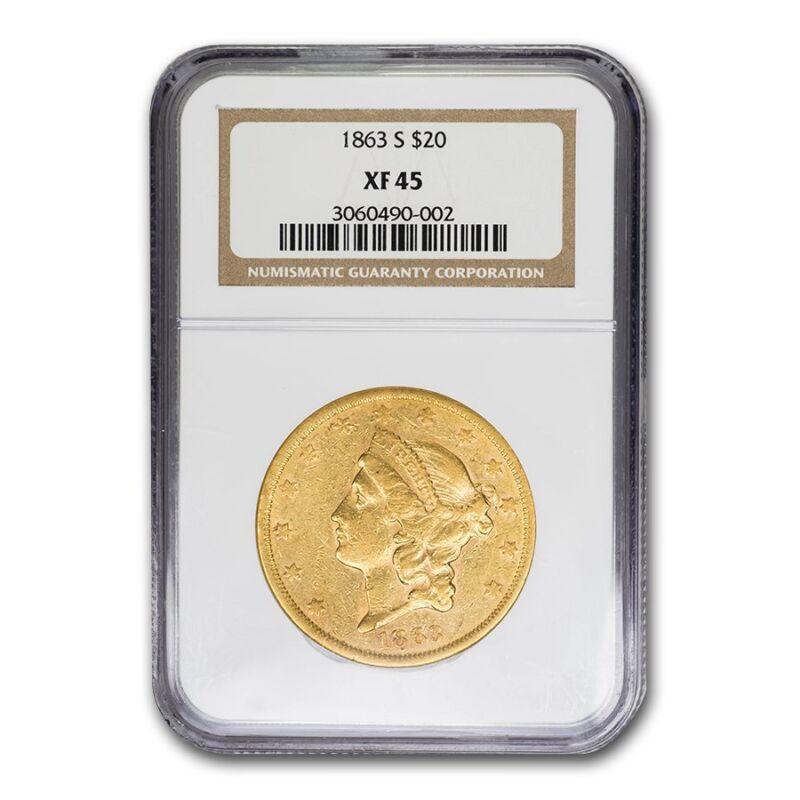 1863-s $20 Liberty Gold Double Eagle Xf-45 Ngc - Sku#68970