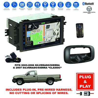 Plug-In GPS Navigation Bluetooth Car Stereo radio+Backup Camera For Silverado
