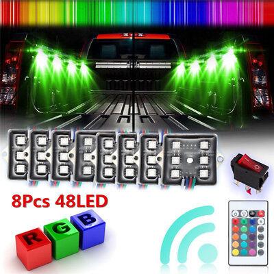 8pc LED Rock Lights Under Body Lighting RGB RF Remote Control 48LED Waterproof