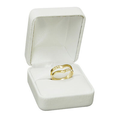 NEW White Jewelry Leather Gift Box for Ring holder wedding engagement present