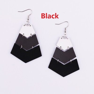 New Chevron Geometric Ombre Colors Pu Leather Statement Earrings Summer (Ombre Jewelry)
