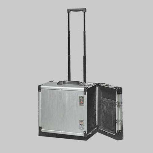 "Aluminum Jewelry Carrying Case w Wheels Combo Lock Box 6 3/8"" x 9 3/8"" x 13 1/2"""