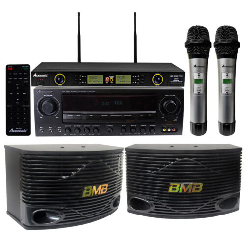 """Acesonic AM-200 960 W Amplifier & BMB CSN-500 10"""" Speakers with Wireless Mics"""