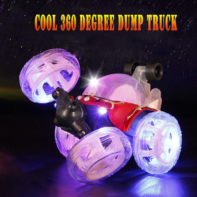 Remote Control for Kids Toys 360°Rolling Stunt Car LED Flash & Music Xmas Gifts