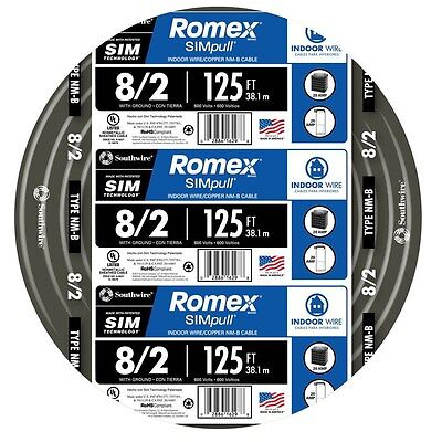 Southwire Romex 125-ft 8-2 600 Volts 8 Awg Non-metallic Wire With Ground New
