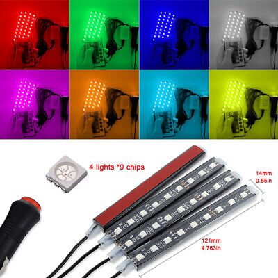 4x Car Accessories RGB 9LED Interior Neon Atmosphere Strip Light Remote Control