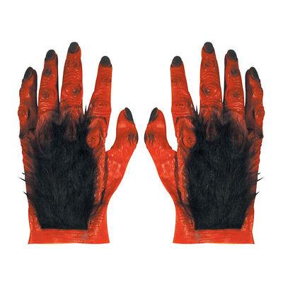 ROTE XL TEUFEL HANDSCHUHE Halloween Hölle Satan Monster Herren Kostüm Party 2709 ()