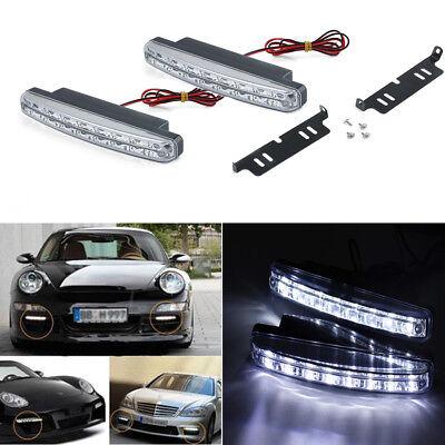 - 2 Pcs 8 LED Daytime Running Light DRL Daylight Fog Lamp Day Lights Universal