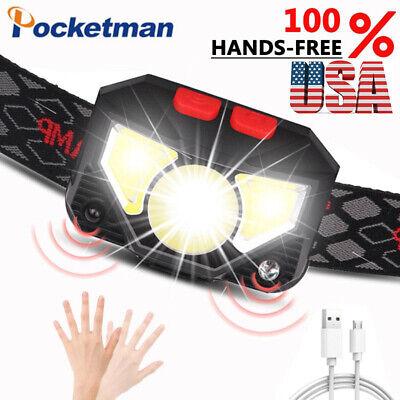85000Lm Motion Sensor LED Headlamp Headlight USB Rechargeable Head Lamp Torch