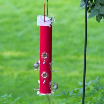 Perky-Pet Red Metal Tube 8 Feeding Removable Ports Hanging Bird Feeder, NEW!