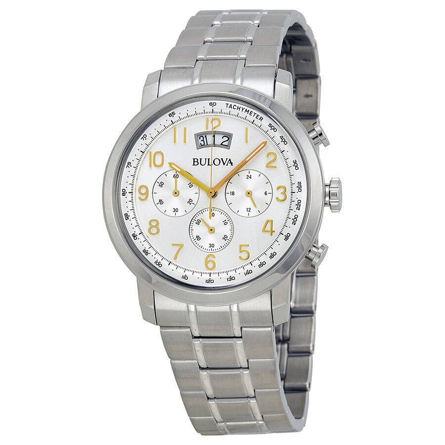 Bulova Men's 96B201 Quartz Chronograph Gold-Tone Numerals Silver-Tone 42mm Watch