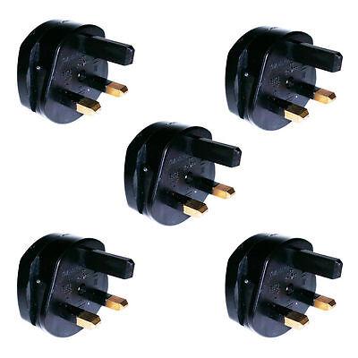 5x Quality US UE 2 pin to 3 pin UK Travel Adapter Plug 250v AC 13amp Black VAT