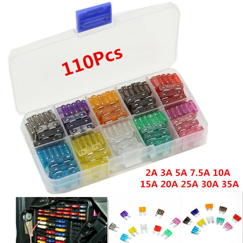 110pcs 2-35 Amp Kit Car SUV Mini Low Profile Blade Fuses Box Mould Fuse Assorted
