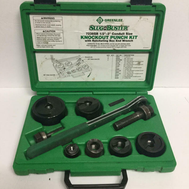 "Greenlee #7238SB Slug Buster 16 piece Knockout Punch Set, ½"" to 2"" Preowned"