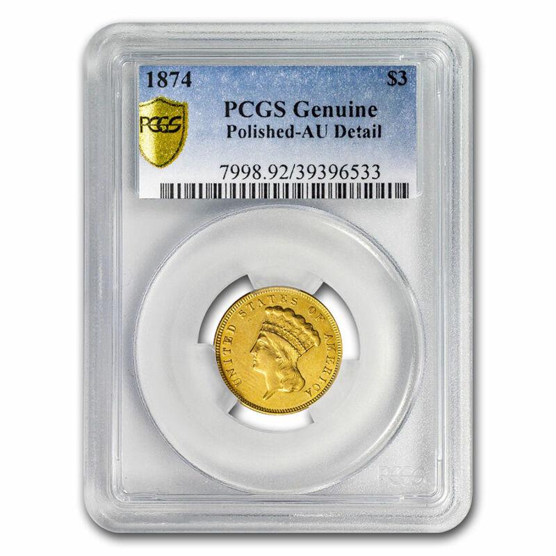1874 $3 Gold Princess AU Details PCGS (Polished) - SKU#213813