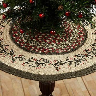 New Country Red Green Tan  BRAIDED JUTE HOLLY BERRY Christmas Tree Skirt 21""