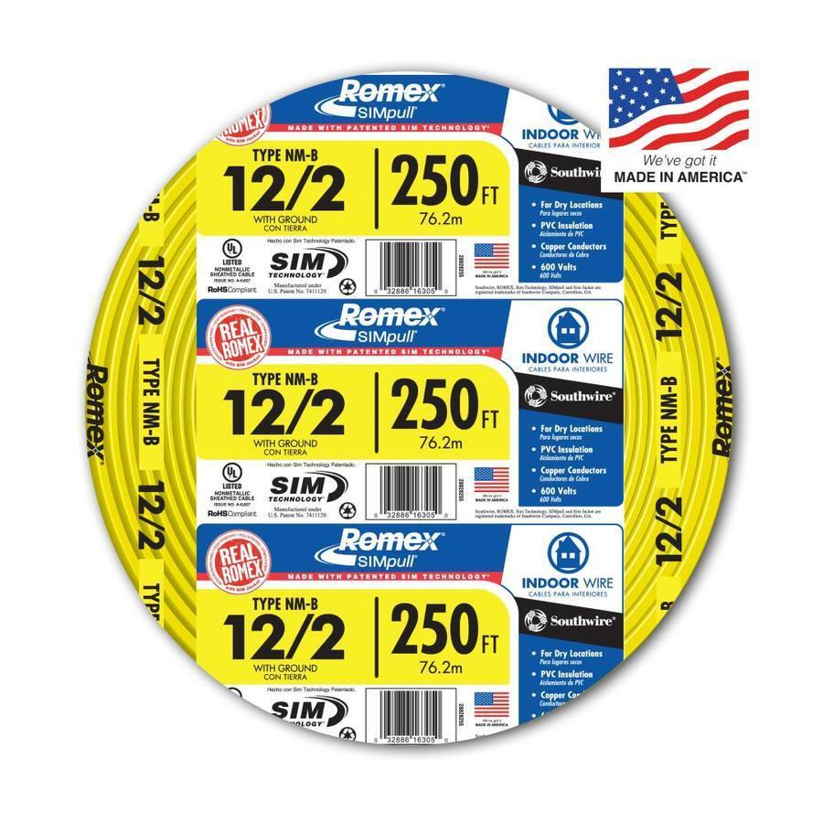 Southwire Romex SIMpull 250\' 12-2 Non-Metallic Cable Electrical Wire ...